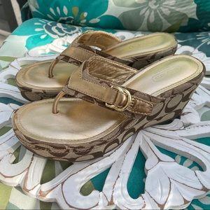 Coach Evelina Signature Sandals Shoes 5.5 Worn 1X